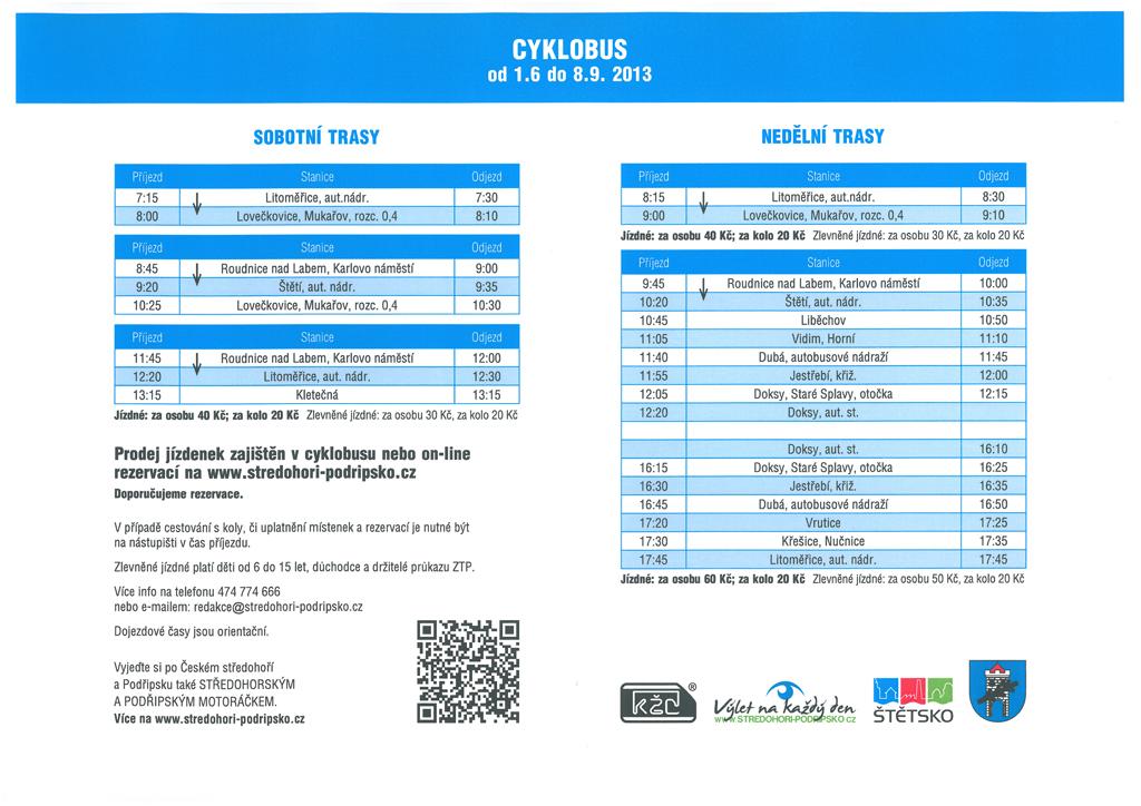 Cyklobus - jízdní řády